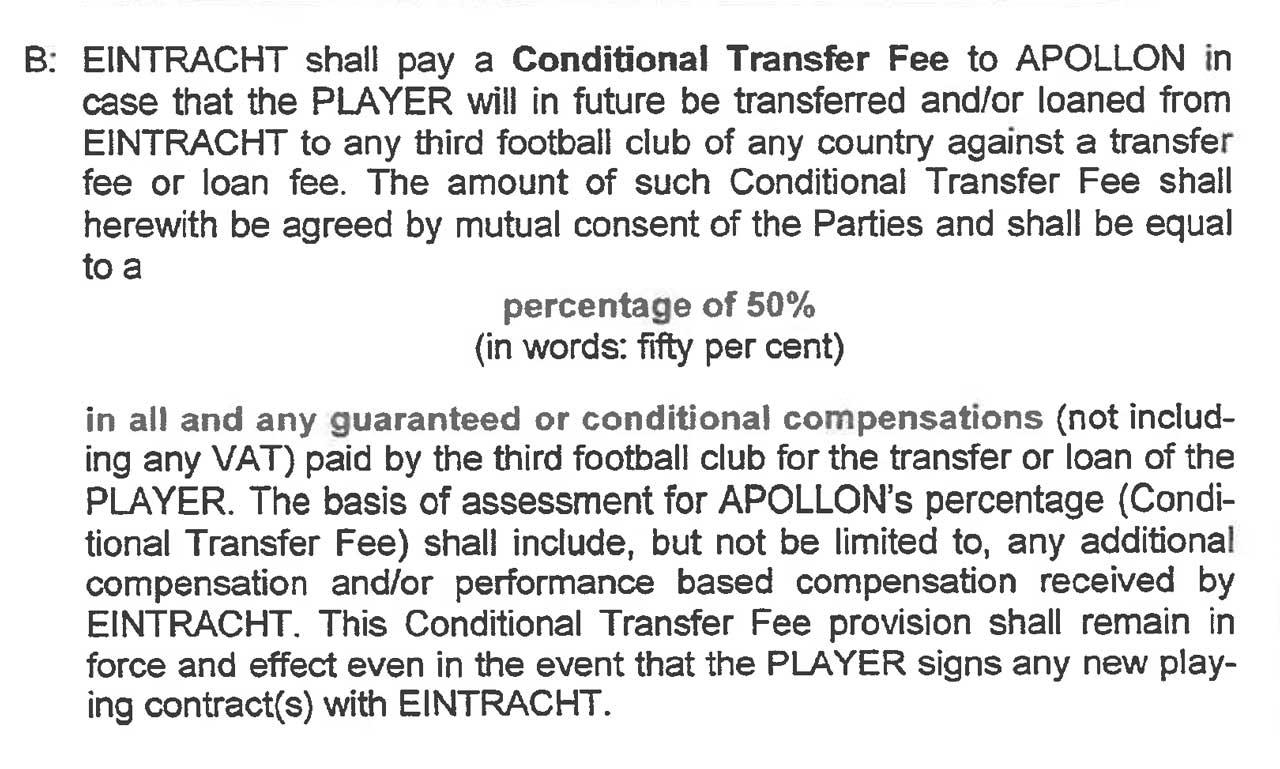 Uit het contract van Pini Zahavi