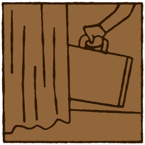 Koffer achter het gordijn