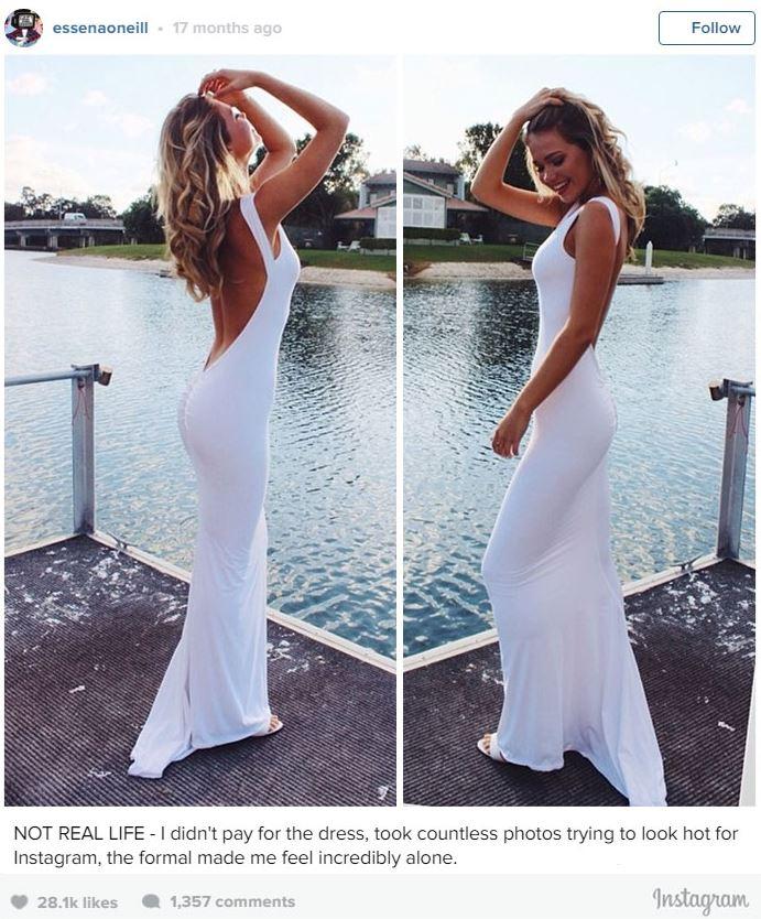Op haar Instagram-account plaatste Essena ontnuchterend commentaar bij haar foto's.