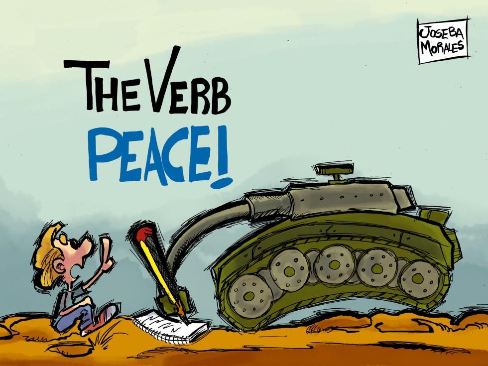 Een cartoon van Joseba Morales uit Spanje, naar een tweet van  @admnister: