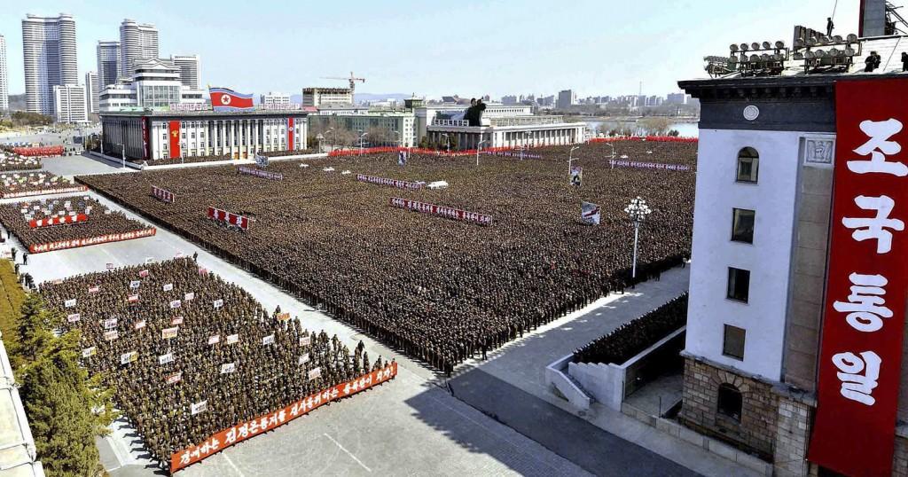 Militairen verzameld op het Kim II Sung-plein in Pyongyang, Noord-Korea op een foto die afgelopen weekend werd vrijgegeven.