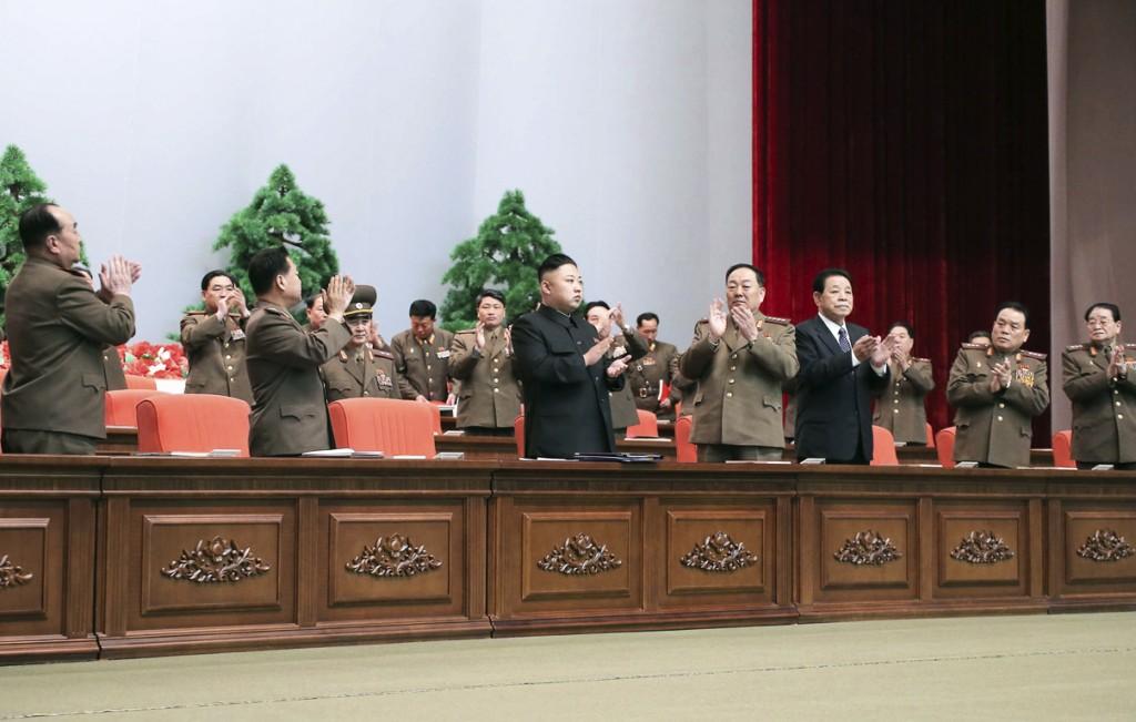 Kim Jong-un dit weekend bij een bijeenkomst.