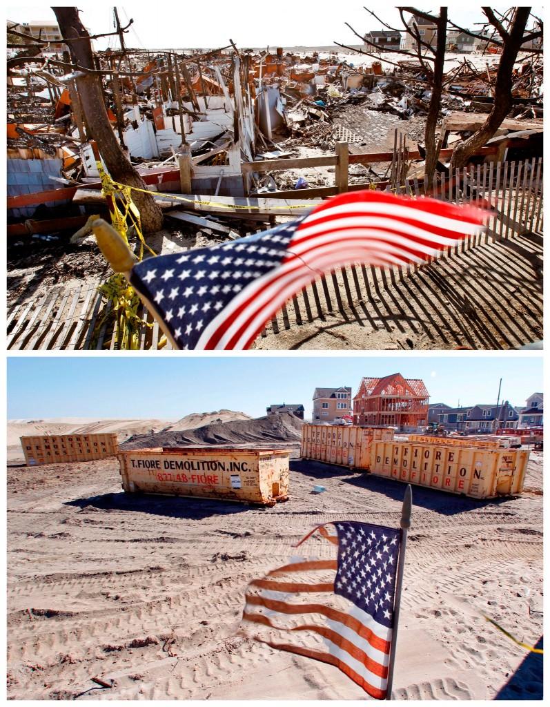 Meer dan zestig verwoeste bungalows in Camp Osborn, New Jersey / de plek een halfjaar later