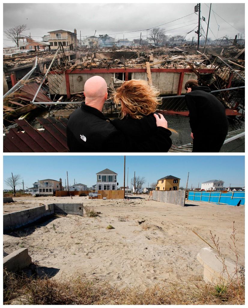 Robert Connolly en zijn vrouw Laura bekijken wat er over is van het huis van haar ouders in Breezy Point, New York / de plek een jaar later, waar nieuwe huizen worden gebouwd.