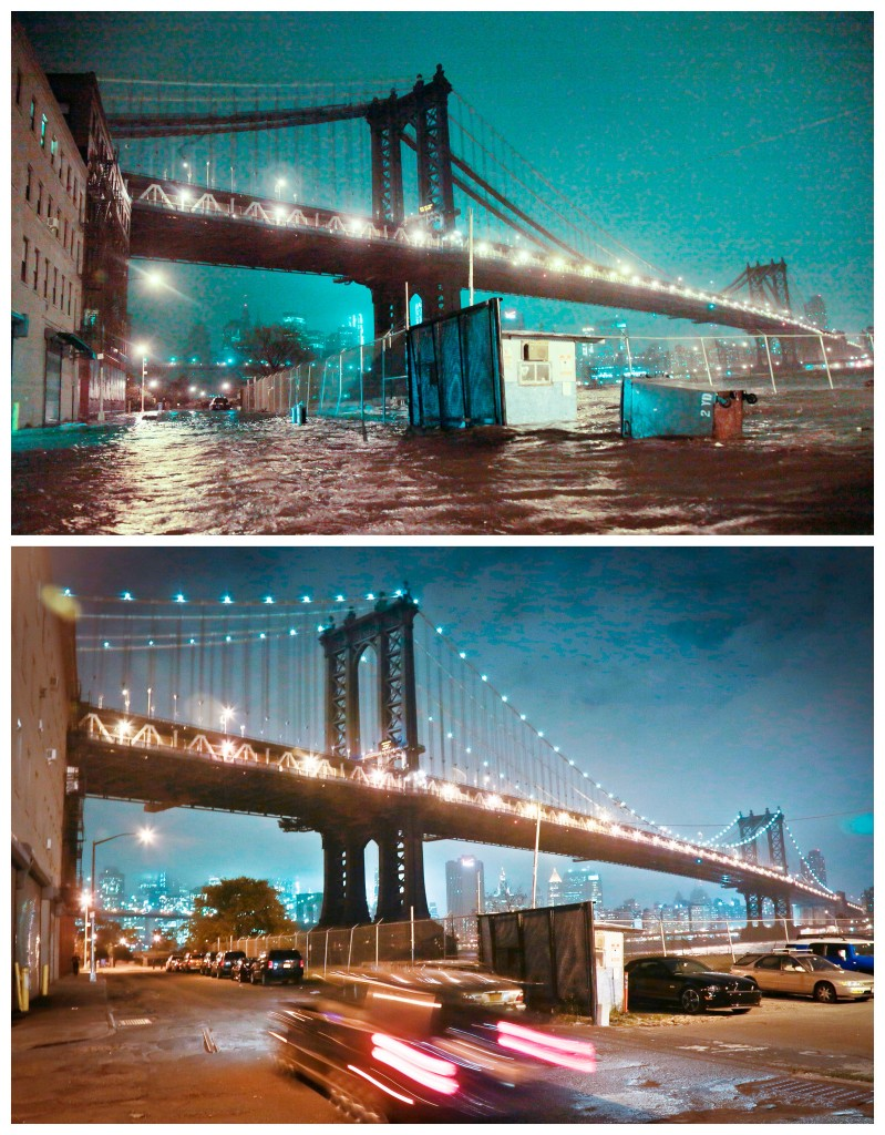 Straten onder water bij de Manhattan Bridge in Brooklyn, New York / de plek een jaar later