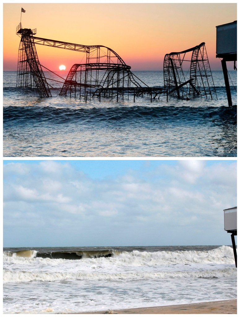 De zon komt op achter de Jet Star Roller Coaster in Seaside Heights, New Jersey / de (lege) plek een jaar later