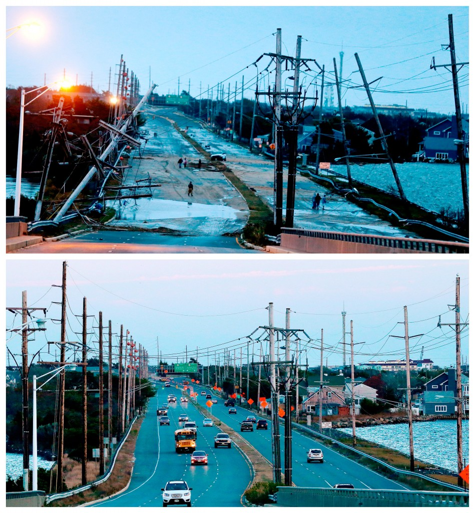 Verwoeste hoogspanningsmasten en een verwoeste weg in Seaside Heights, New Jersey / de plek een jaar later