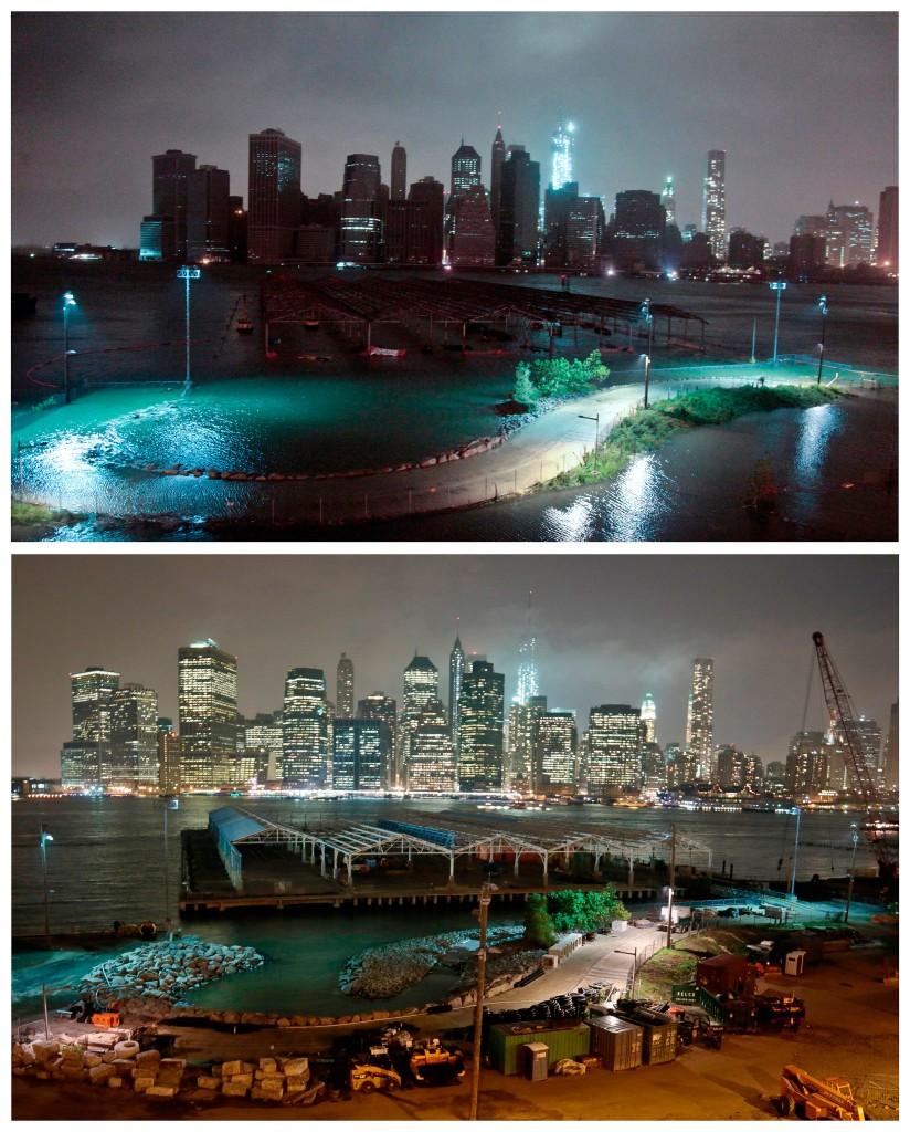 Manhattan in het duister gezien vanuit Brooklyn / hetzelfde uitzicht een jaar later