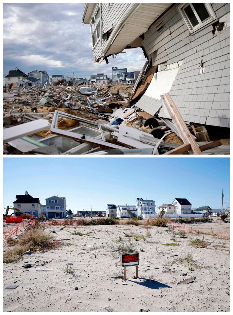 Verwoeste woningen in Ortley Beach in Toms River, New Jersey / de (lege) plek een halfjaar later