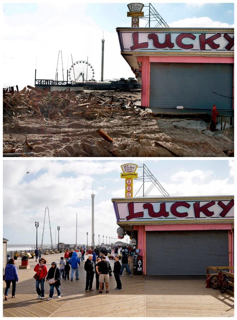 De verwoeste pier voor Lucky Leo's spellenhal in Seaside Heights, New Jersey / de plek bijna een jaar later