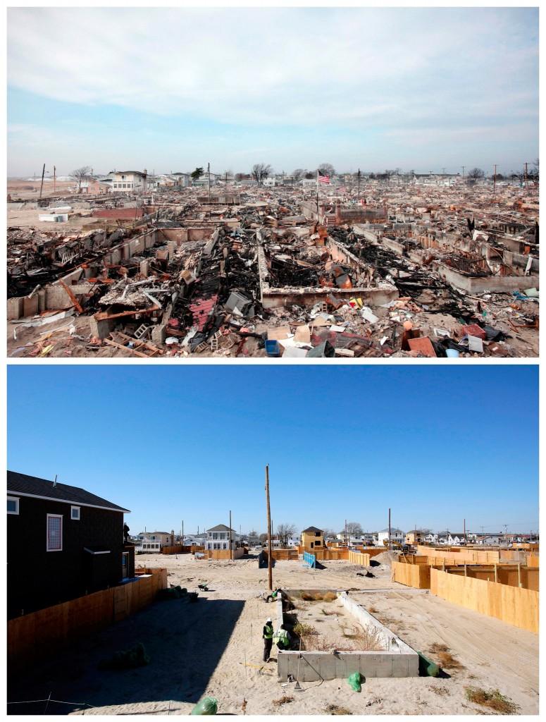 Wat er over was van meer dan honderd huizen in Breezy Point, Queens / de bouw van nieuwe huizen bijna een jaar later