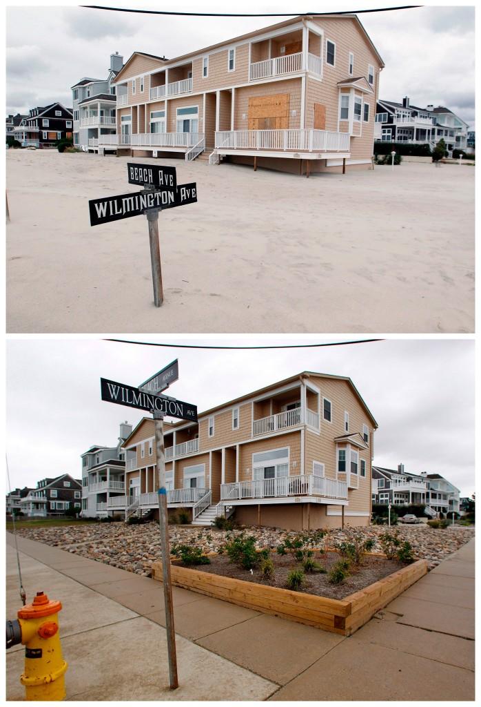 Een straatnaambord is bedolven door zand in Cape May, New Jersey / dezelfde plek een jaar later, met een stukje blauw tape dat aangeeft hoeveel zand er een jaar eerder lag