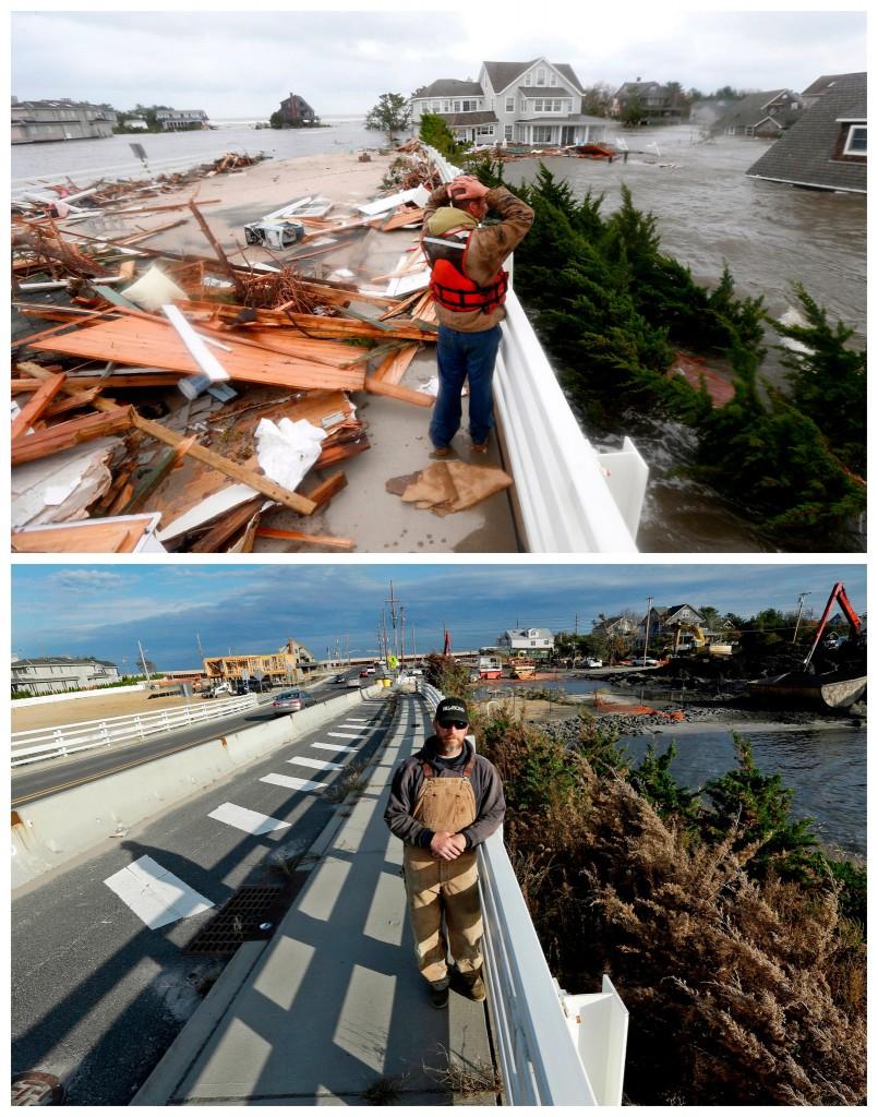 Brian Hajeski staat bij een brug in Mantaloking, New Jersey de morgen nadat Sandy verwoesting heeft achtergelaten / Hajeski op dezelfde plek een jaar later