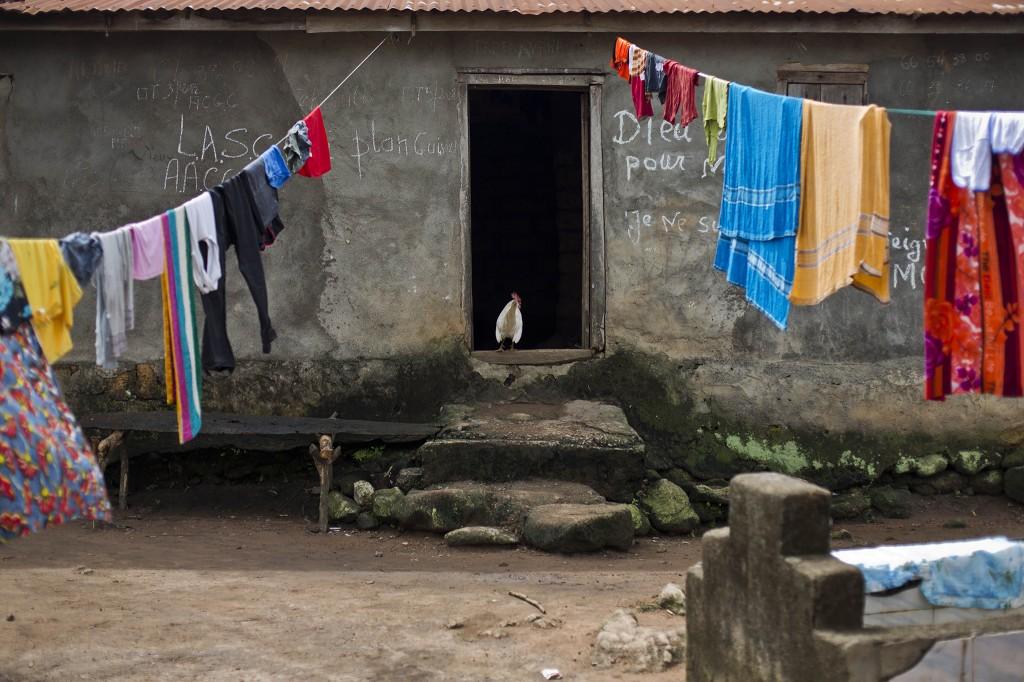 De was in het dorpje Meliandou hangt te drogen.