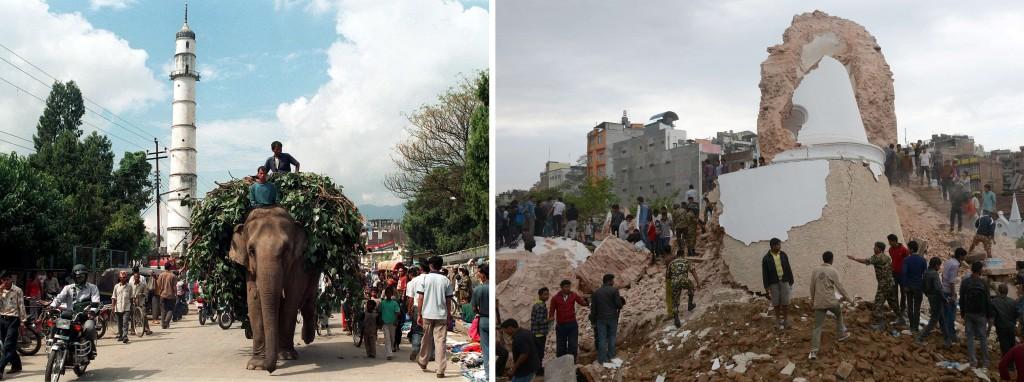 Twee foto's: een vóór en een ná de aardbeving.