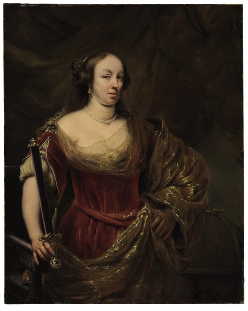 Door: Ferdinand Bol uit Dordrecht (1616-1680). Op het schilderij: een dame, geïdentificeerd als Maria Louise Gonzaga. Olie op canvas. Verwachte opbrengst: 150.000 tot 250.000 dollar (133.000 tot 221.000 euro).
