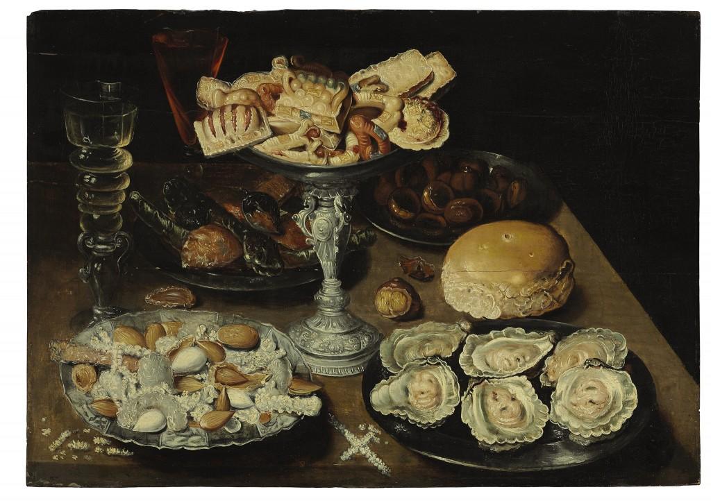 Door: Osias Beert I uit Antwerpen (1580-1624). Op het schilderij: oesters op een tinnen bord met snoepjes en koekjes en twee wijnglazen op een houten tafel. Olie op paneel. Verwachte opbrengst: 7.000 tot 10.000 dollar (6.000 tot 9.000 euro).