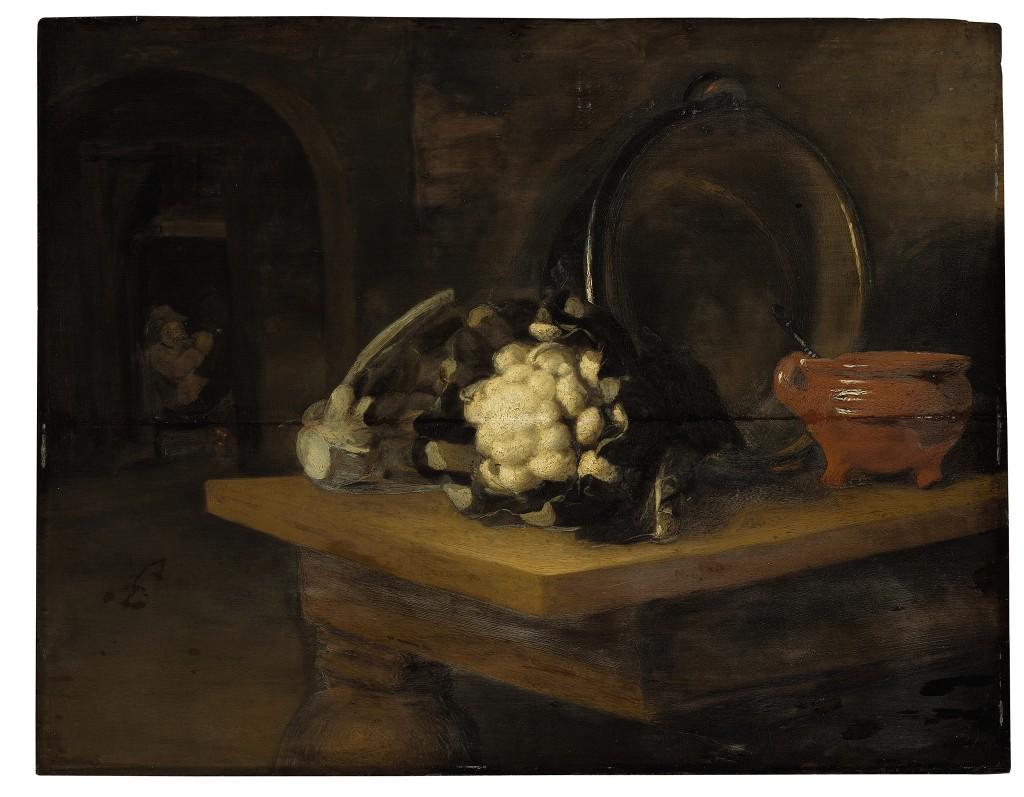 Door: Nicolaes Maes (geboorte- en sterfdatum onbekend). Op het schilderij: bloemkool, een aardewerken kom en een koperen pot. Olie op paneel. Verwachte opbrengst: 3.000 tot 5.000 dollar (2.600 tot 4.400 euro).