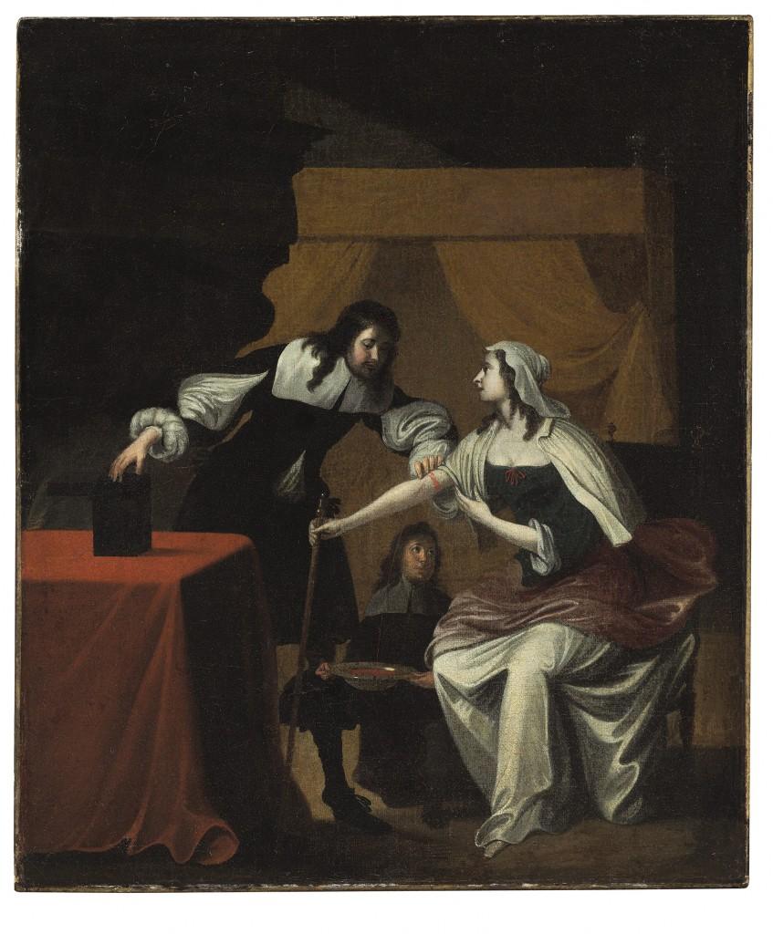 Door: Hollandse school (rond 1600). Op het schilderij: een doktersbezoek. Olie op canvas. Verwachte opbrengst: 5.000 tot 7.000 dollar (4.400 tot 6.200 euro).