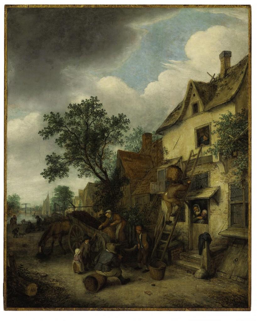 Door: Adriaen van Ostade uit Haarlem (1610-1685). Op het schilderij: dorpelingen dragen turf een huis in. Olie op paneel. Verwachte opbrengst: 20.000 tot 30.000 dollar (18.000 tot 27.000 euro).
