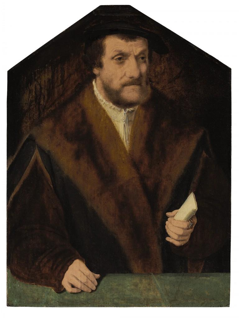 Deel van een tweeluik. Door: Bartholomäus Bruyn I (1493-1555). Op het schilderij: Kanselier Balthasar von Kerpen. Olieverf. Verwachte opbrengst: 30.000 tot 50.000 dollar (27.000 tot 44.000 euro).