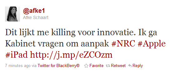 Screenshot van Schaarts tweet